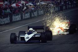 Piloto Andrea de Cesaris, Brabham saca chispas y caen en Stefan Johansson, McLaren