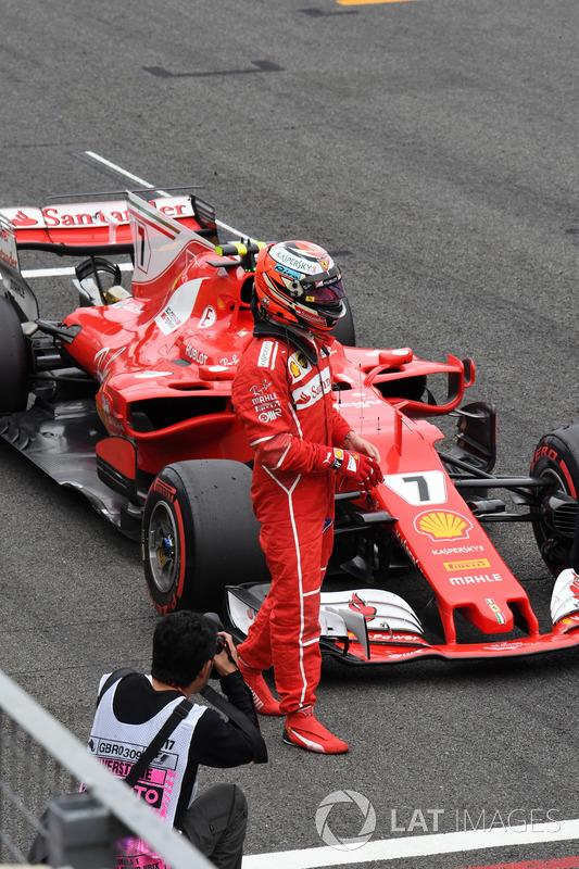Kimi Raikkonen, Ferrari SF70H en parc ferme