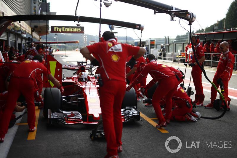 Sebastian Vettel, Ferrari SF70H, makes a practice pit stop