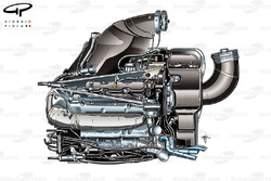 Mercedes PU106 powerunit, pipework from compressor at the front of the ICE suggests Williams FW36 installation