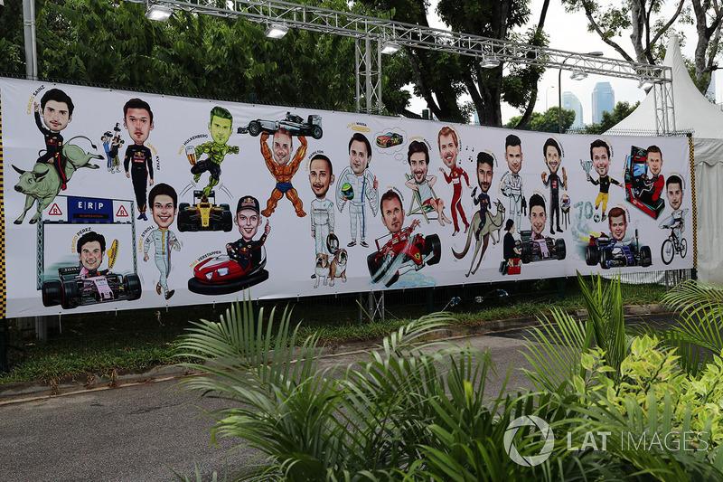 Gran Premio de Singapur: mural de caricaturas de los pilotos.