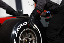 A Pirelli tyre is changed on the Romain Grosjean Haas F1 Team VF-17