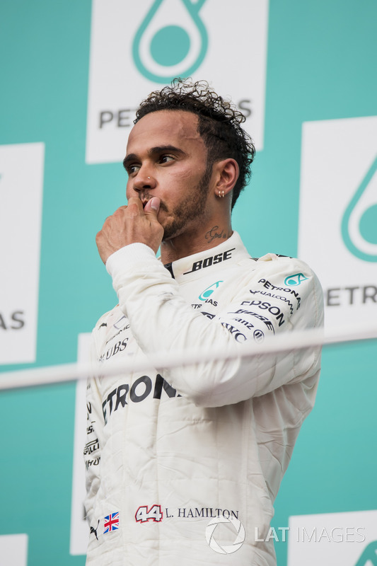 Second place Lewis Hamilton, Mercedes AMG F1, on the podium