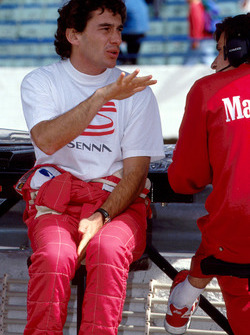 Ayrton Senna after testing a McLaren MP4/8 fitted with a Chrysler/Lamborghini V12 engine