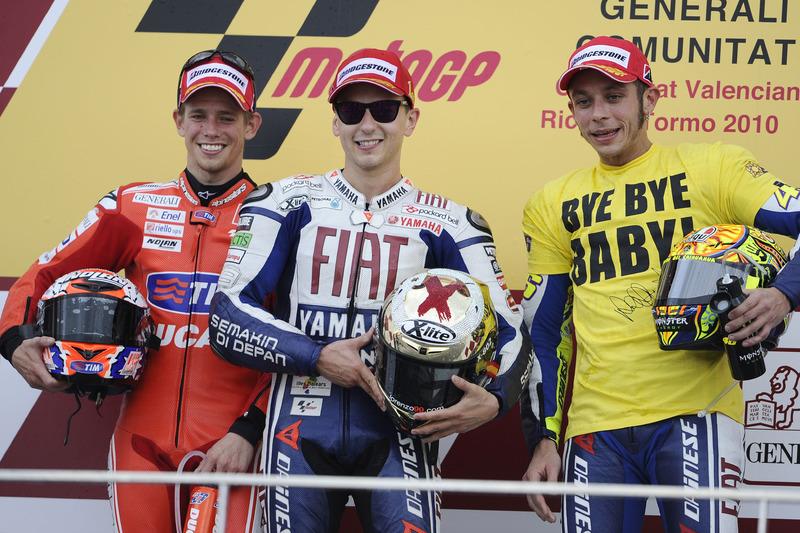 Podio: 1º Jorge Lorenzo, 2º Casey Stoner, 3º Valentino Rossi
