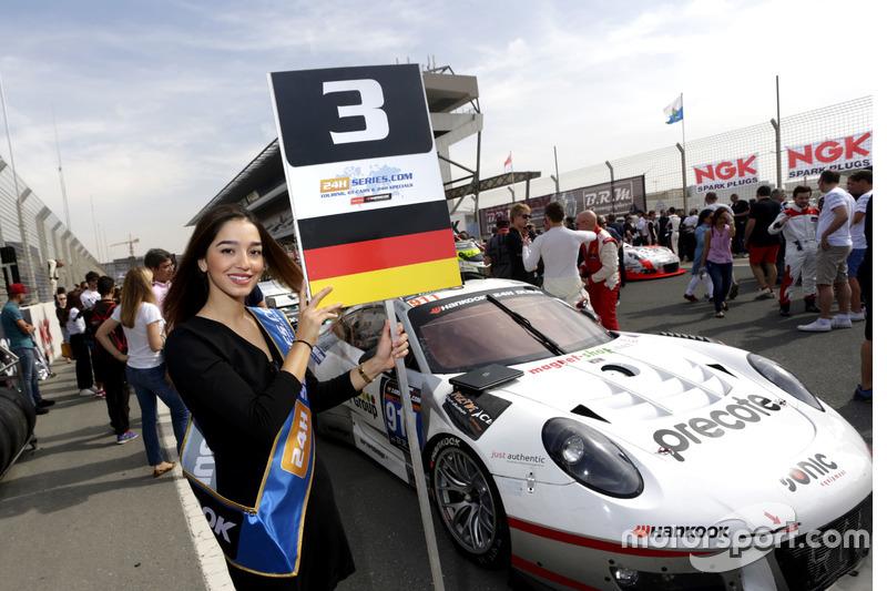 Grid girl of #911 Herberth Motorsport Porsche 991 GT3 R: Daniel Allemann, Ralf Bohn, Robert Renauer, Alfred Renauer, Brendon Hartley