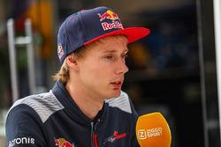 Brendon Hartley, Scuderia Toro Rosso talks to the media