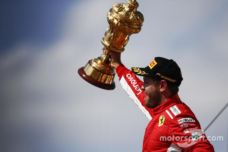 Sebastian Vettel, Ferrari, sur le podium