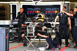 Red Bull Racing RB14 is worked on in the garage