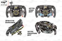 Ferrari SF70H, comparazione tra i volanti di Vettel e Raikkonen
