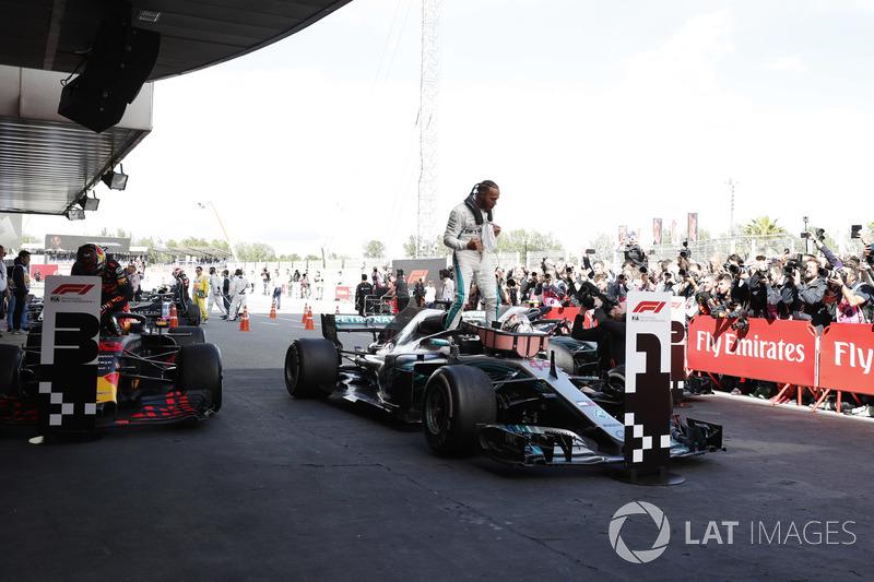 Lewis Hamilton, Mercedes AMG F1 W09, celebrates victory in parc ferme