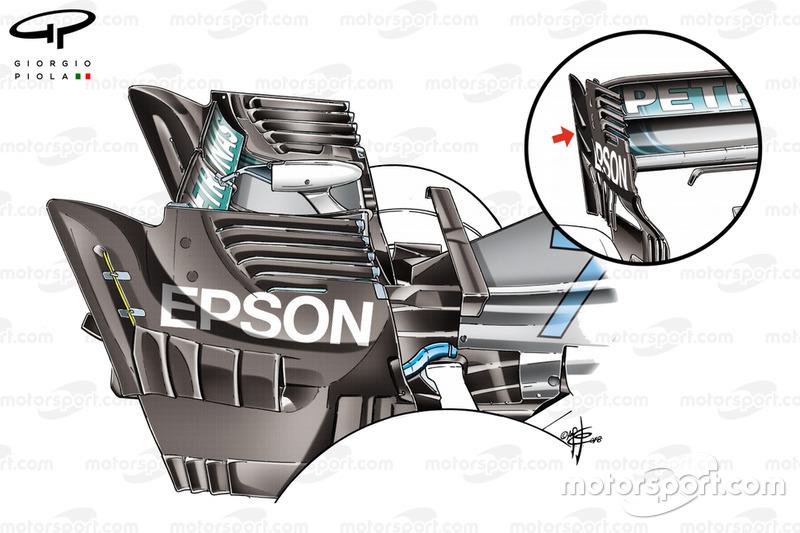 Mercedes AMG F1 W09 порівняння задніх антикрил, ГП Сінгапуру