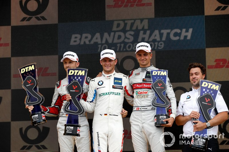 Podium: Race winner Marco Wittmann, BMW Team RMG, second place René Rast, Audi Sport Team Rosberg, third place Nico Müller, Audi Sport Team Abt Sportsline