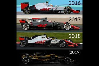 Haas F1 Team liveries 2016-2019
