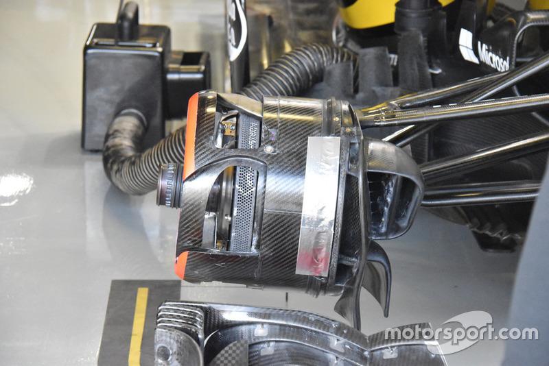 Vue détaillée d'un frein avant de la Renault R.S.18