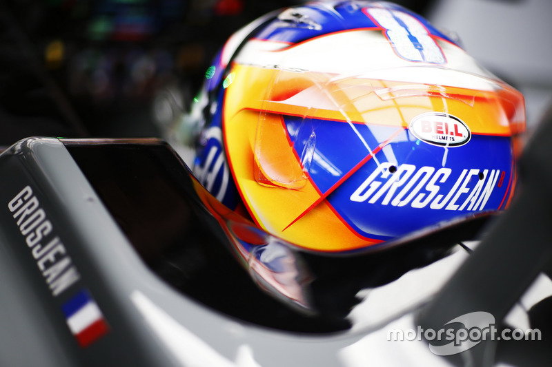 The helmet of Romain Grosjean, Haas F1 Team