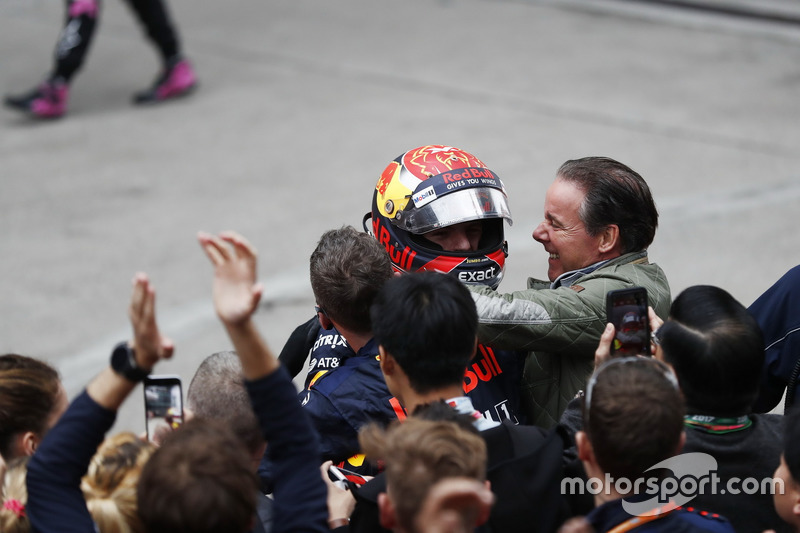 Max Verstappen, Red Bull, celebrates with his team and his father Jos Verstappen