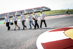 Alexander Rossi, Manor Racing Reserve Driver; Jordan King, Manor Racing Development Driver; and Rio Haryanto, Manor Racing; walk the circuit with the team