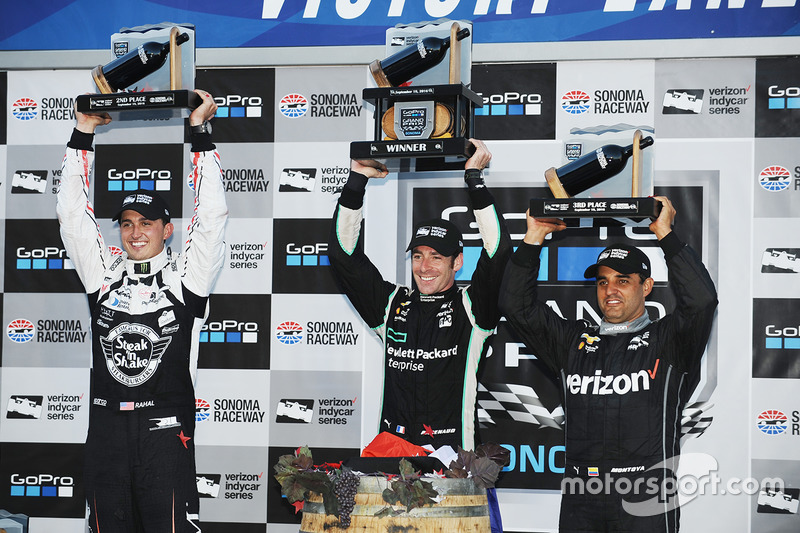 Podium: race winner and 2016 champion Simon Pagenaud, Team Penske Chevrolet, second place Graham Rahal, Rahal Letterman Lanigan Racing Honda, third place Juan Pablo Montoya, Team Penske Chevrolet