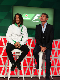 (L to R): Carles Puyol, Former Football Player and David Coulthard, Red Bull Racing and Scuderia Tor