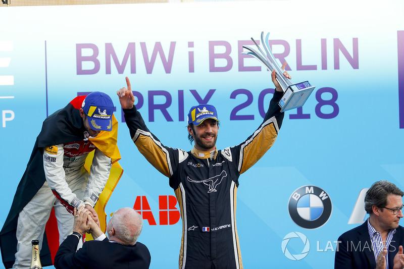 Jean-Eric Vergne, Techeetah, places 3rd, Lucas di Grassi, Audi Sport ABT Schaeffler, places 2nd, Daniel Abt, Audi Sport ABT Schaeffler, wins the Berlin ePrix