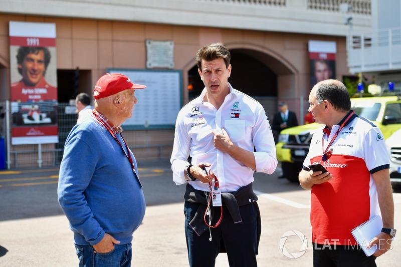 Niki Lauda, Mercedes AMG F1 Non-Executive Chairman, Toto Wolff, Mercedes AMG F1 Director of Motorsport, Frederic Vasseur, Sauber, Team Principal