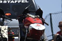La moto incidentata di Tetsuta Nagashima, Idemitsu Honda Team Asia