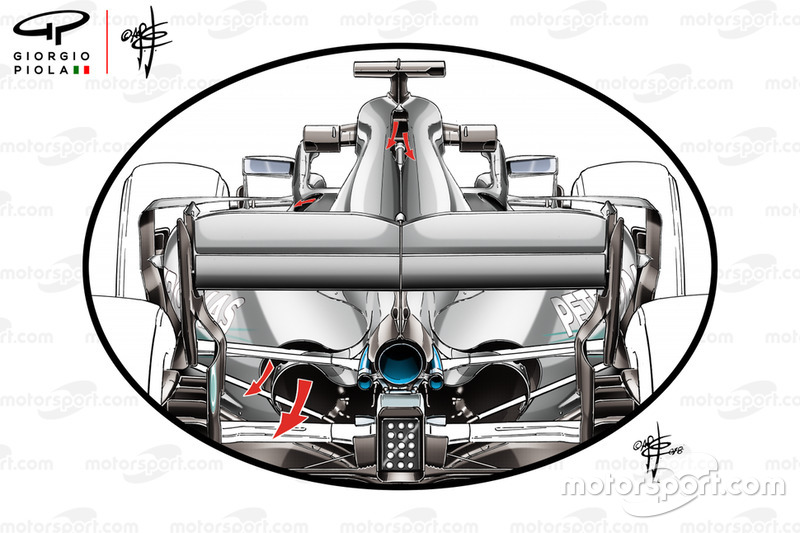 Вентиляционные отверстия в понтонах Mercedes F1 W09