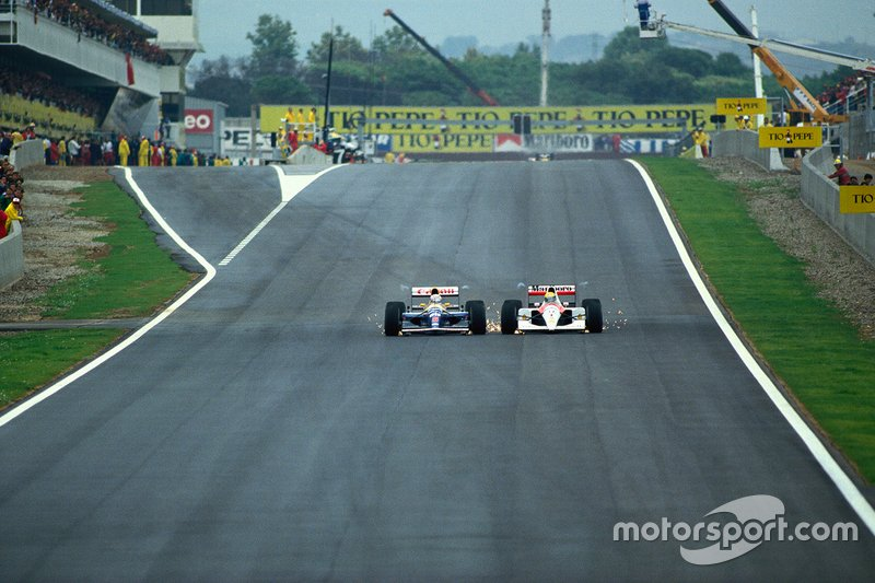 Nigel Mansell, Williams; Ayrton Senna, McLaren