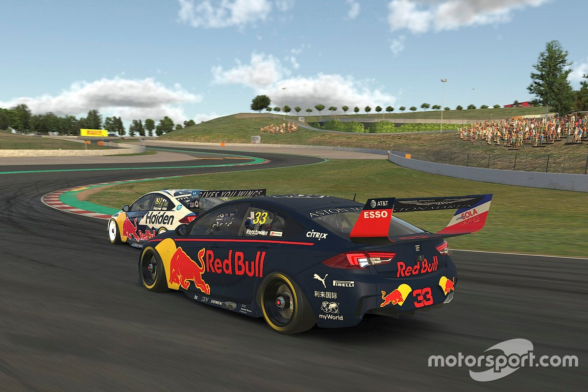 Shane van Gisbergen and Max Verstappen in a virtual Supercar race