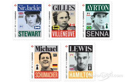 Kanadai posta Forma-1-es bélyegek