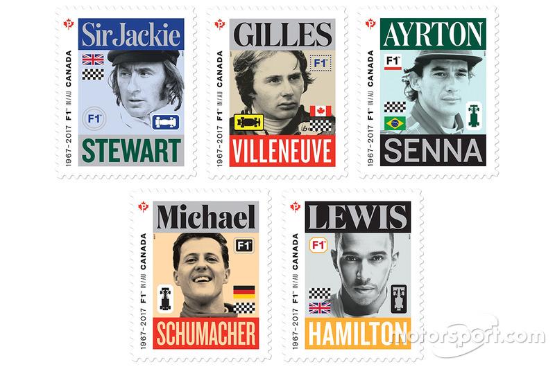 Sello de correos de Sir Jackie Stewart, Gilles Villeneuve, Ayrton Senna, Michael Schumacher y Lewis Hamilton