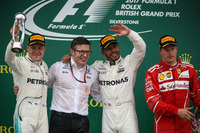 Podium: race winner Lewis Hamilton, Mercedes AMG F1, second place Valtteri Bottas, Mercedes AMG F1, third place Kimi Raikkonen, Ferrari,  Peter Bonnington, Mercedes AMG F1 Race Engineer