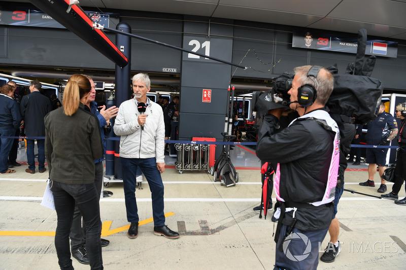 Natalie Pinkham, Sky TV, Martin Brundle, Sky TV and Damon Hill, Sky TV