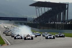 Start: #22 G-Drive Racing, Oreca 07 - Gibson: Memo Rojas, Ryo Hirakawa, Leo Roussel, führt