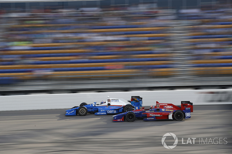 Scott Dixon, Chip Ganassi Racing Honda, Alexander Rossi, Herta - Andretti Autosport Honda