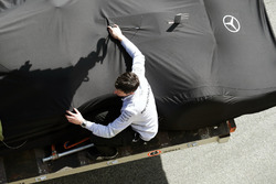 The Mercedes AMG F1 W07 Hybrid of Lewis Hamilton, Mercedes AMG F1 is recovered back to the pits on the back of a truck