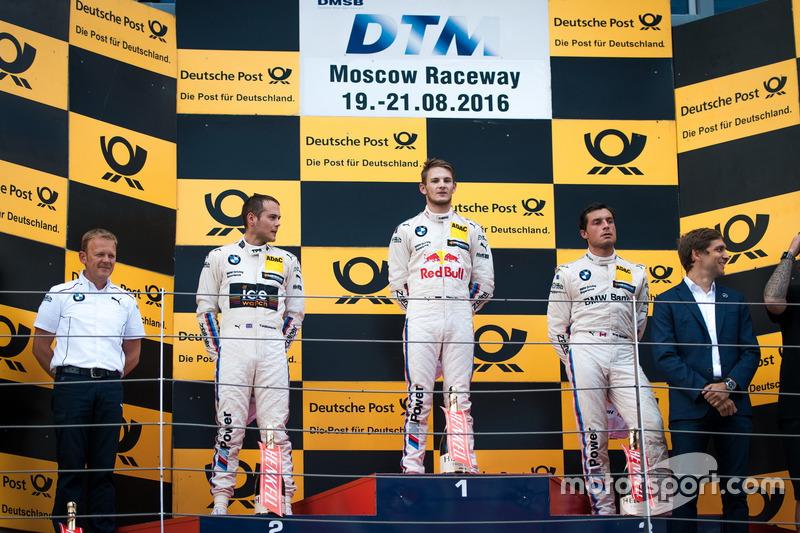 Podio: il secondo classificato Tom Blomqvist, BMW Team RBM, BMW M4 DTM; il vincitore della gara Marco Wittmann, BMW Team RMG, BMW M4 DTM; il terzo classificato Bruno Spengler, BMW Team MTEK, BMW M4 DTM e Stefan Reinhold, BMW Team RMG.