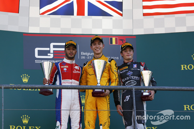 Podium: winner Jack Aitken, Arden International, second place Antonio Fuoco, Trident, third place Santino Ferrucci, DAMS