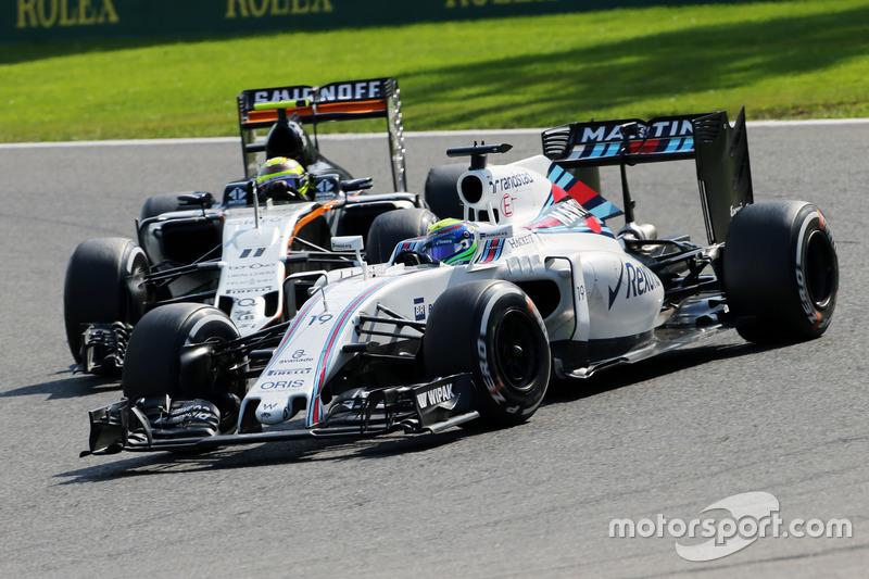 Felipe Massa, Williams FW38 ve Sergio Perez, Sahara Force India F1 VJM09 pozisyon mücadelesi