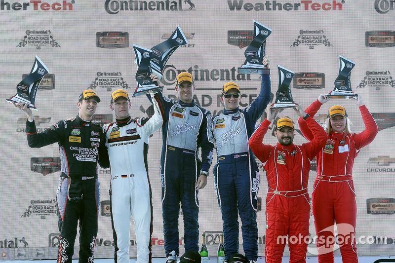 GTD podium: winners Jeroen Bleekemolen, Ben Keating, Riley Motorsports, second place Patrick Lindsey