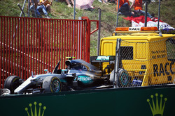 The Mercedes AMG F1 W07 Hybrid of Nico Rosberg, Mercedes AMG F1 is recovered back to the pits on the back of a truck