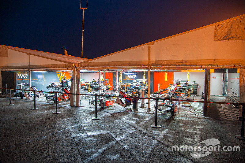 Van Amersfoort team tent at night & Van Amersfoort team tent at night at Paul Ricard