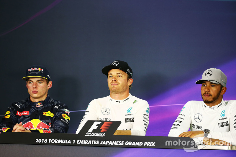 FIA Press Conference: Max Verstappen, Red Bull Racing, second; Nico Rosberg, Mercedes AMG F1, race winner; Lewis Hamilton, Mercedes AMG F1, third