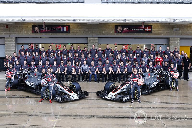 The Haas F1 Team home race team photo call