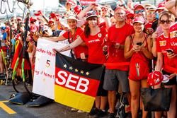 Sebastian Vettel, Ferrari fans with banner