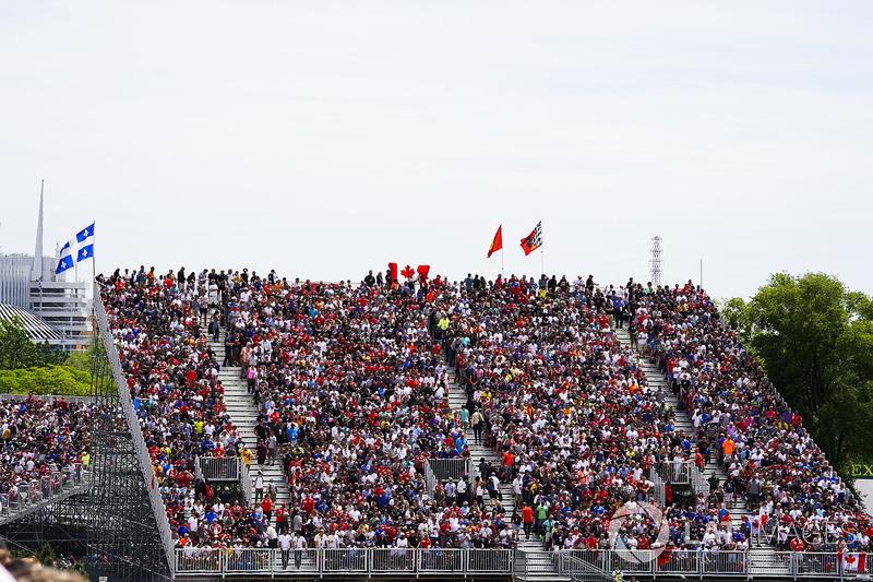 Crowds in a grandstand