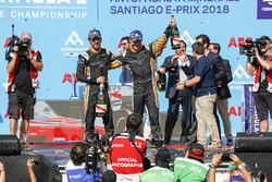 Jean-Eric Vergne, Techeetah, Andre Lotterer, Techeetah celebrate on the podium