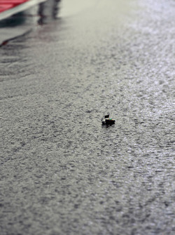 Small raft floats in pit lane