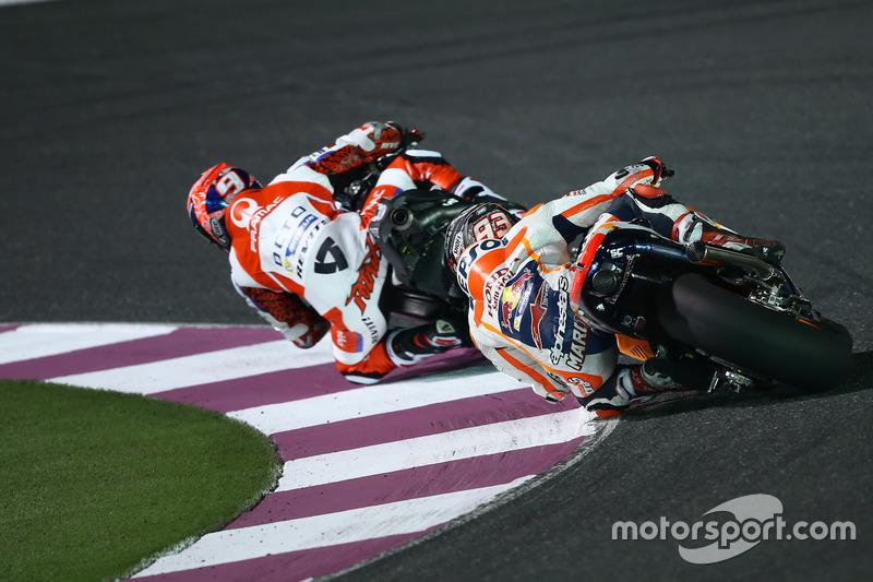 Danilo Petrucci, Pramac Racing; Marc Marquez, Repsol Honda Team